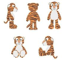 Set of tiger cartoons in different positions vector