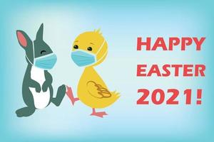 Easter Bunny and Duck wearing face masks against covid-19 and giving foot shake. Easter vector greeting card. Coronavirus alert for 2021.