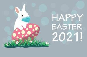 Bunny wearing a face mask against covid-19. Easter greeting card. Coronovirus alert for Easter 2021 vector