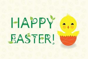 Hatching easter chicken. Floral text vector