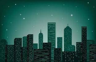City skyline vector illustration. Urban landscape. Night-time cityscape in flat style.