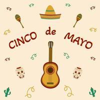 fiesta mexicana 5 de mayo diseño cinco de mayo vector