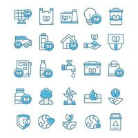 Set of Eco Green icons with blue style vector