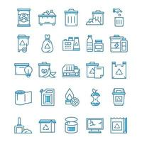 Set of Waste icons with blue style. vector