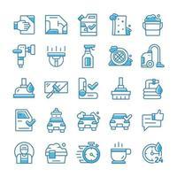 conjunto de iconos de lavado de autos con estilo azul. vector