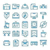 Set of Work icons with blue style. vector