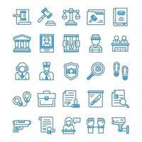 conjunto de iconos de justicia y derecho con estilo azul. vector