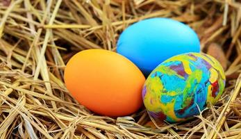 Colorful Easter eggs photo
