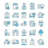 Set of Environment icons with blue style. vector