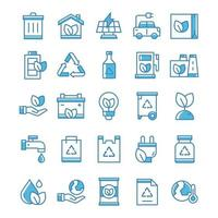 Set of Ecology icons with blue style. vector