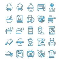 Set of Cooking icons with blue style. vector
