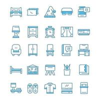 Set of Bedroom icons with blue style. vector
