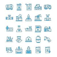 Set of Oil industry icons with blue style. vector