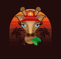 Giraffe in a cap on a background of palm trees. Summer print for t shirt design. Vector illustration design.