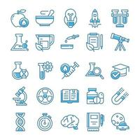 Set of Science icons with blue style. vector