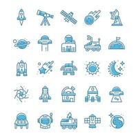 Set of Space icons with blue style. vector