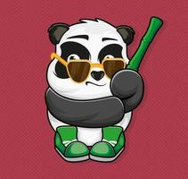 Panda with sun glasses, bamboo and sneakers. Sticker. Patch. Apparel. Vector illustration design.