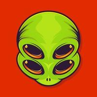 Alien sticker with four eyes. Extraterrestrial. Ufo patch. Vector illustration for t shirt design.