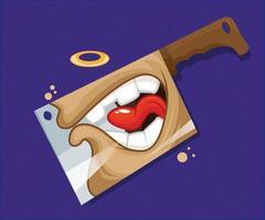 cuchillo con cara gritando. ilustración vectorial vector