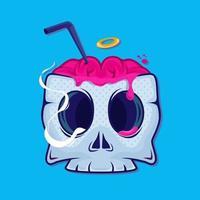 Skull drink cup sticker. Cocktail. Drink brain. Vector illustration