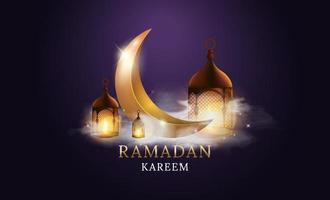 fiesta musulmana del mes sagrado de ramadán kareem. luna dorada con nube. diseño de ilustración vectorial. vector