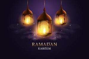 Arabic lantern with burning candle set. Ramadan Kareem. Vector illustration design.