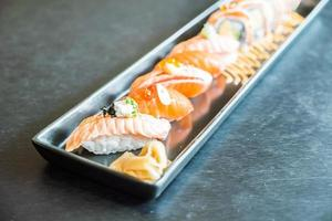 Salmon sushi roll, traditional Japanese food