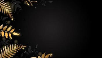 Gold leaf. Golden flower on dark background. Vector design for brochure, card, cover.