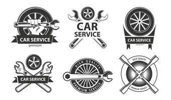 Service, repair set of labels or logos. Maintenance work. vector