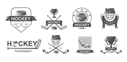 Hockey championship big set logos in monochrome style. Sport emblem competition. vector