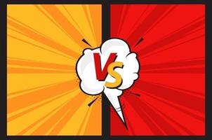 Versus VS letters fight background in comics style with speech bubble. Red and yellow frames with energy effect. Vector