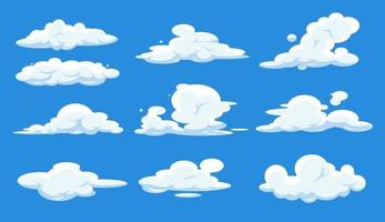 Cartoon clouds set isolated on blue sky. Cloudscape in blue sky, white cloud. vector