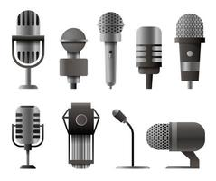 Microphone set in cartoon style. Microphones for audio podcast broadcast. illustration isolated on white background vector