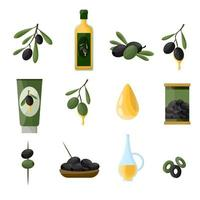 Olives icons set in cartoon style with tree oil branch leaf isolated. Vector