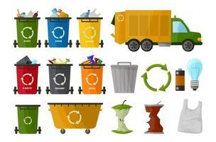 camión de basura y varios tipos de cubo de basura aislado sobre fondo blanco en estilo de dibujos animados. recolección de basura de rueda. envase. señal de procesamiento de basura vector
