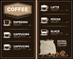 Coffee menu with price list. Types of coffee preparation with cup. Vector. Template flyers.