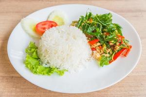 Spicy Fried basil leaf with chicken and rice photo