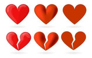 Heart set in different style. Cartoon, realism, icon. Heartbreak, broken heart or divorce vector