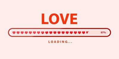 encanta el progreso de carga. carga del corazón. diseño de ilustración vector