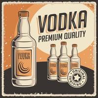cartel de señalización de vodka retro vector clásico rústico