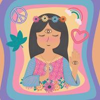Cute beautiful boho bohemian gypsy hippie girl, woman in flat color style vector
