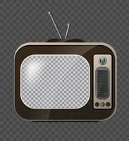 Retro Television. Old school Tv. Mock Up Isolate on Transparent Grid. Vector 3d Realism