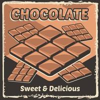 Chocolate Bar Cocoa Choco Rustic Classic Retro Vintage Signage Poster Vector