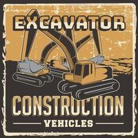 excavadora construcción vehículos señalización cartel retro vector rústico