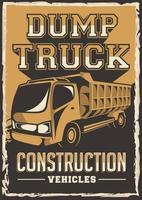 camión volquete construcción vehículo señalización cartel retro vector rústico
