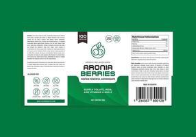Aronia Berries Supplement Vitamin Organic Alergen Free Label Design vector