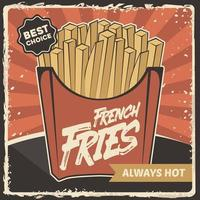 Fast Food French Fries Potato Signage Poster Retro Rustic Classic Vector