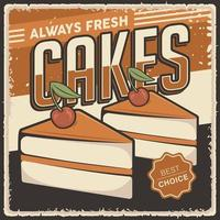 Retro Vintage Cakes Poster Sign vector