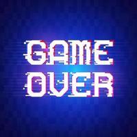 banner de game over para juegos con efecto de falla en estilo pixel. luz de neón en el texto. diseño de ilustración vectorial. vector