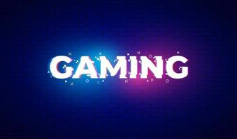 Gaming banner for games with glitch effect. Neon light on text. Vector illustration design.